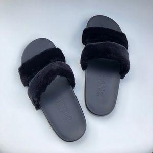 VS PINK Black Furry Double Strap Slide Size Medium